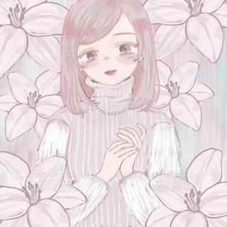 花,イラスト,白,絵,女の子,笑顔,寒い,ホワイト,冷たい,ユリ