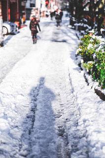 雪に覆われた斜面をスキーに乗る人の写真・画像素材[1680559]