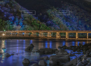嵐山花灯路・渡月橋ライトアップの写真・画像素材[1677680]