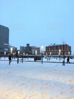 空,冬,雪,駅,夕方,北海道,街,街灯