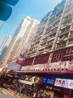 風景,屋外,海外,青空,景色,街,旅行,バス,街灯,香港
