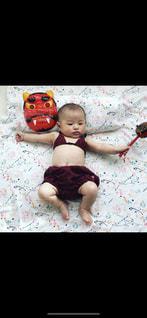 女性,女子,赤ちゃん,コスプレ,節分,ビキニ,赤おに,豆まき,赤鬼,でんでん太鼓,赤ちゃんコスプレ