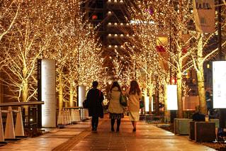 女性,友だち,3人,風景,夜,屋外,樹木,イルミネーション,都会,道,人,歩道,女子会,同僚,履物,グランフロント大阪,シャンパンゴールド