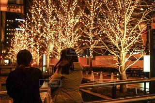 女性,友だち,2人,風景,夜,夜景,屋外,道路,樹木,イルミネーション,都会,人,明るい,友達,グランフロント大阪,シャンパンゴールド