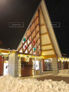 北欧の風道の駅とうべつの冬の夜景の写真・画像素材[1696524]