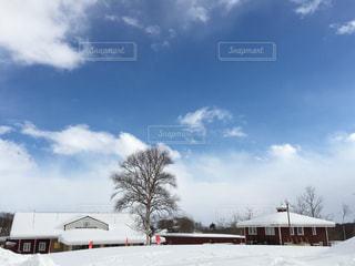 石狩郡当別町のスウェーデンヒルズの雪景色の写真・画像素材[1744961]