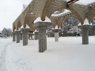 石狩郡当別町総合体育館の上雪景色の写真・画像素材[1775042]