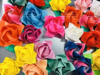折り紙のバラ、黄色が鮮やかの写真・画像素材[1825253]
