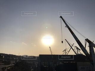 海,太陽,黄色,港,クレーン,造船所,呉港,黄色い太陽