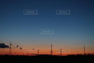 石狩平野、春の夕暮れの写真・画像素材[2018051]
