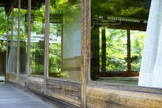 窓ガラスに映る庭園の写真・画像素材[1688844]