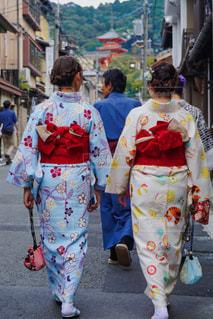 屋外,京都,後ろ姿,歩く,観光,人物,背中,人,浴衣,日本