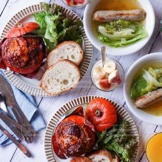 スープ,朝ごはん,ソーセージ,グラタン,かぼちゃのグラタン,ジョンソンヴィル,丸ごとかぼちゃのグラタン