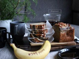 食べ物,ケーキ,コーヒー,デザート,おいしい,バナナ,手作りおやつ,バナナブレッド,コーヒー カップ,ステイホーム,stay  home