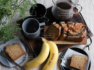 食べ物,コーヒー,デザート,おいしい,バナナ,手作りおやつ,バナナブレッド,コーヒー カップ,ステイホーム,stay  home