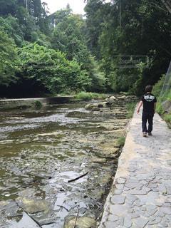 男性,後ろ姿,川,山,景色,男,滝,残暑