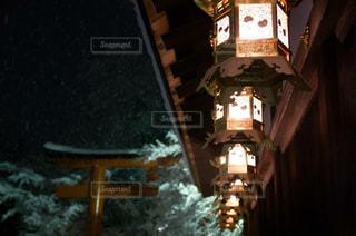 雪降る夜の写真・画像素材[1704848]