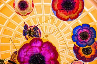 風景,建物,花,カラフル,黄色,鮮やか,蝶々,ホテル,天井,イエロー,ラスベガス,内装,フォトジェニック