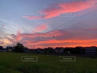 草原の夕日の写真・画像素材[2432780]