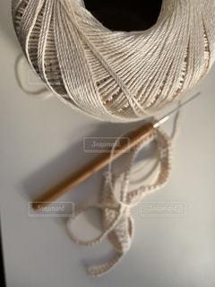 手編みのマフラー 作成中の写真・画像素材[1708500]
