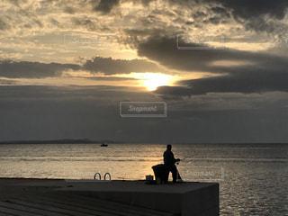海,夕日,釣り,クロアチア