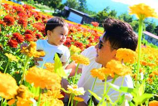 男性,花,夏,屋外,カラフル,親子,黄色,景色,男,オレンジ,人物,人,男の子,乳児,草木,日中
