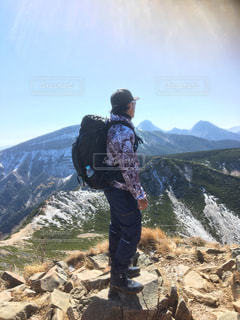 男性,自然,空,山,登山,人,快晴,八ヶ岳,初冬