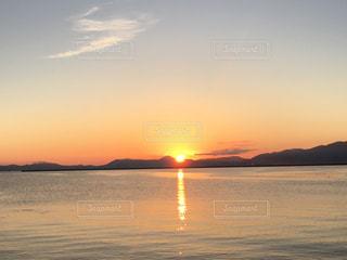 海,空,日没,青森,夕陽