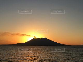 自然,海,空,太陽,夕暮れ,光,鹿児島,桜島,錦江湾