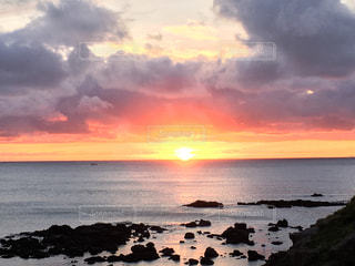 海,空,太陽,ビーチ,夕暮れ,海岸,光,青森,龍飛岬