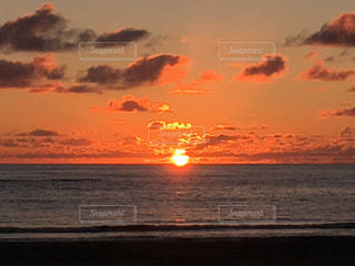 海,空,太陽,ビーチ,夕暮れ,光,日本海,秋田,象潟