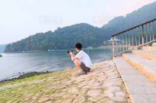 風景,春,カメラ,湖,水面,旅行,台湾,日月潭,カメラ男子