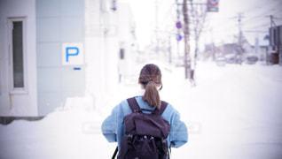 冬,雪,後ろ姿,北海道,背中,外,旅,バッグパッカー,うしろすがた