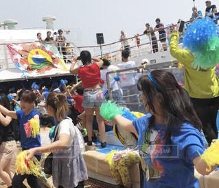 夏,青,Tシャツ,運動会,体育祭,応援,応援団,優勝,行事,ハチマキ,ポンポン,半袖,青団,船上運動会