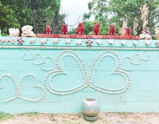 風景,かわいい,貝殻,アート,ハート,壁,塀,パステル,シーサー,壁アート,ファンシー,ペパーミントグリーン
