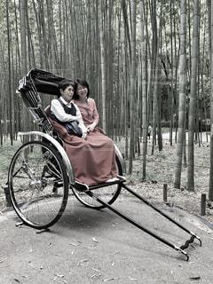 女性,風景,屋外,京都,親子,レトロ,竹,嵐山,フィルム,雰囲気,人力車,フィルム写真,フィルムフォト