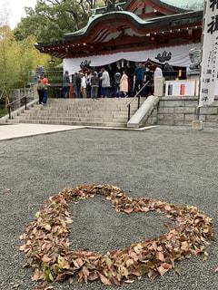 ハート,来宮神社,落ち葉アート,ハートフォト