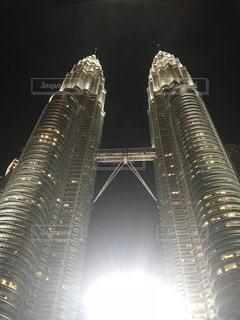 夜,夜景,ビル,海外,マレーシア,ペトロナスツインタワー