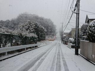 近くに雪の覆われた道路の写真・画像素材[1735804]