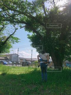木の隣に立っている人の写真・画像素材[2138558]