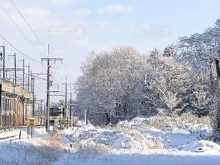 雪に覆われた鉄道の写真・画像素材[1738078]
