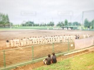 野球の大会前の挨拶風景の写真・画像素材[3842416]
