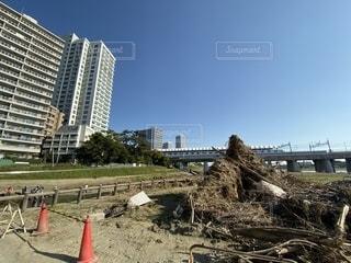 多摩川氾濫後の河川敷から見た二子玉川の写真・画像素材[2718646]