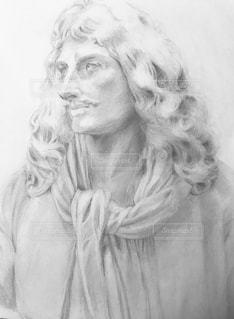 モリエール像の鉛筆デッサンです。の写真・画像素材[1754125]