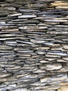 積み上げられた石の壁の写真・画像素材[1758023]