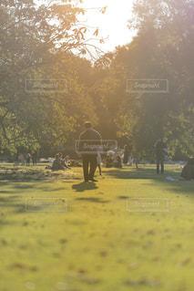木の前に立っている人々のグループの写真・画像素材[2724741]