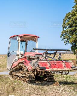 芝生の中に座っているトラックの写真・画像素材[4796167]