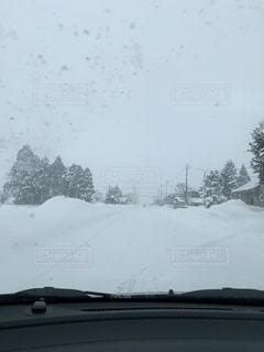 吹雪の中の運転の写真・画像素材[1782369]