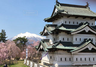 弘前城と岩木山の写真・画像素材[2327691]