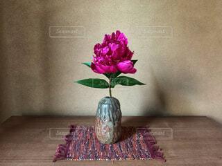 シャクヤクを生けている花瓶の写真・画像素材[4557675]